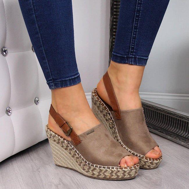 Sandały damskie espadryle na koturnie beżowe Big Star FF274982