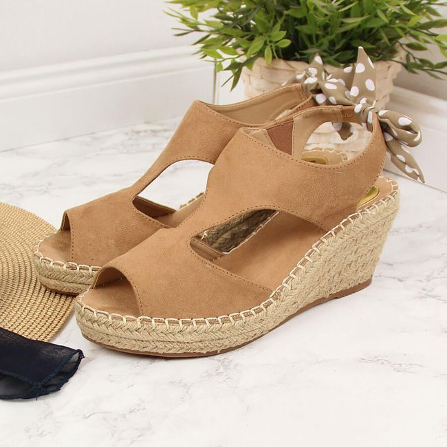 Sandały damskie espadryle na koturnie beżowe Jezzi