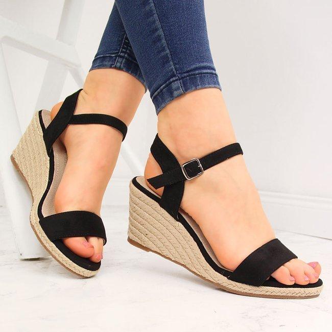 Sandały damskie espadryle na koturnie czarne Vinceza