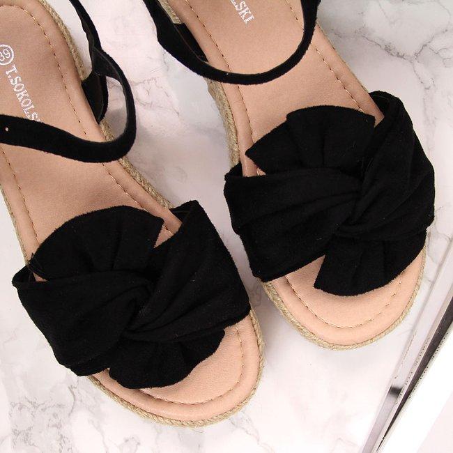 Sandały damskie espadryle na platformie czarne T.Sokolski