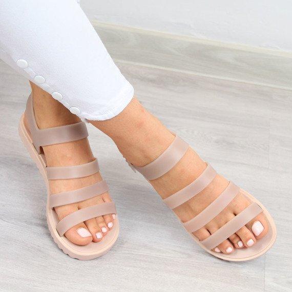 Sandały damskie gumowe meliski pudrowe Zaxy Spring