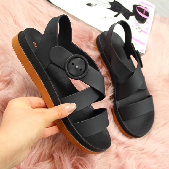 Sandały damskie gumowe na platformie czarne Zaxy