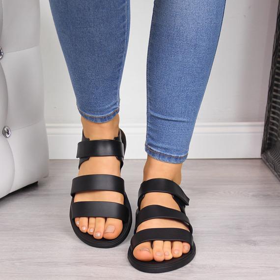 Sandały damskie gumowe na rzep czarne Zaxy