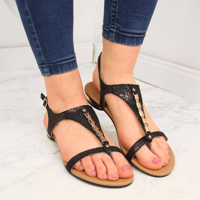 Sandały damskie japonki z ozdobą czarne Vinceza