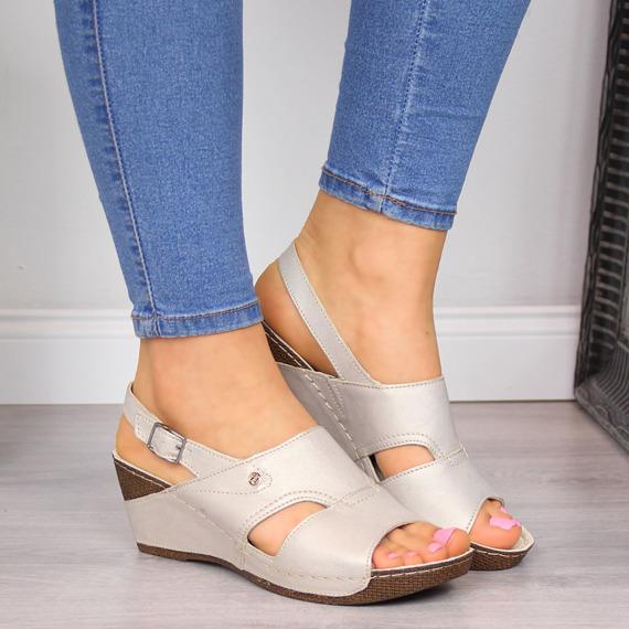 Sandały damskie komfortowe skórzane złote Helios 217