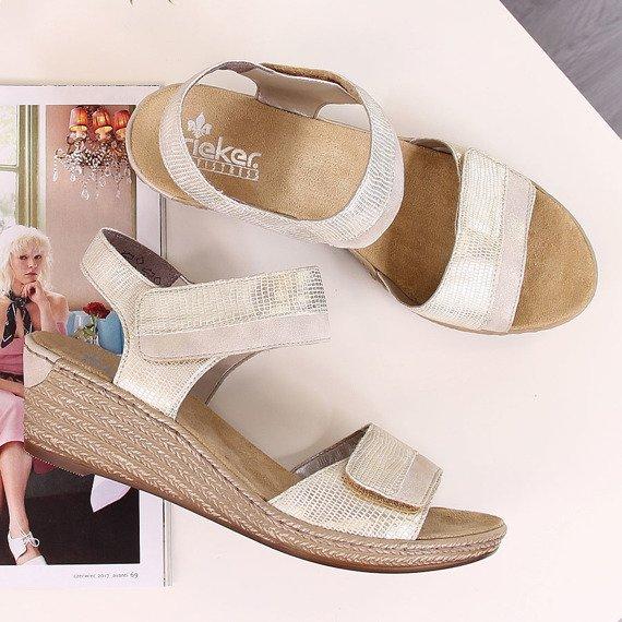 Sandały damskie komfortowe na rzepy złote Rieker 62470-90