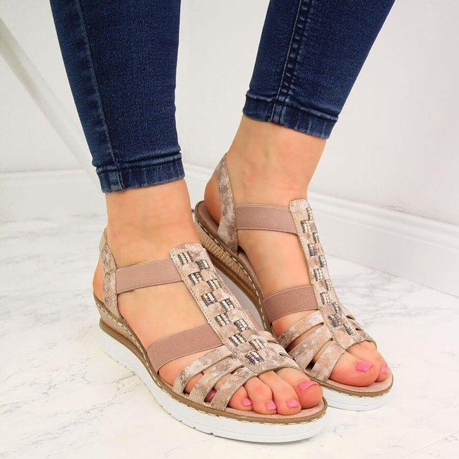 Sandały damskie na gumki różowe Rieker V3822