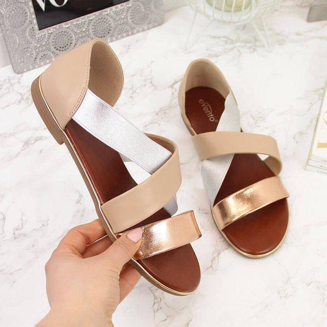 Sandały damskie na gumy beżowe eVento