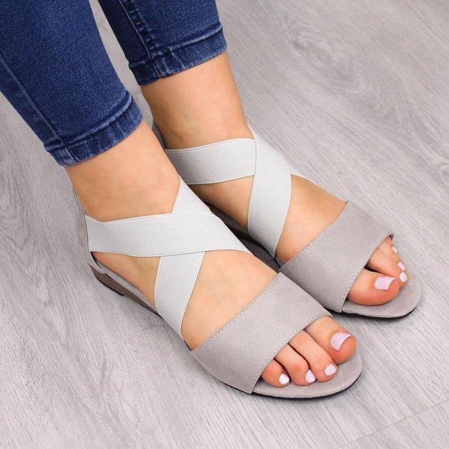 Sandały damskie na gumy szare Vinceza
