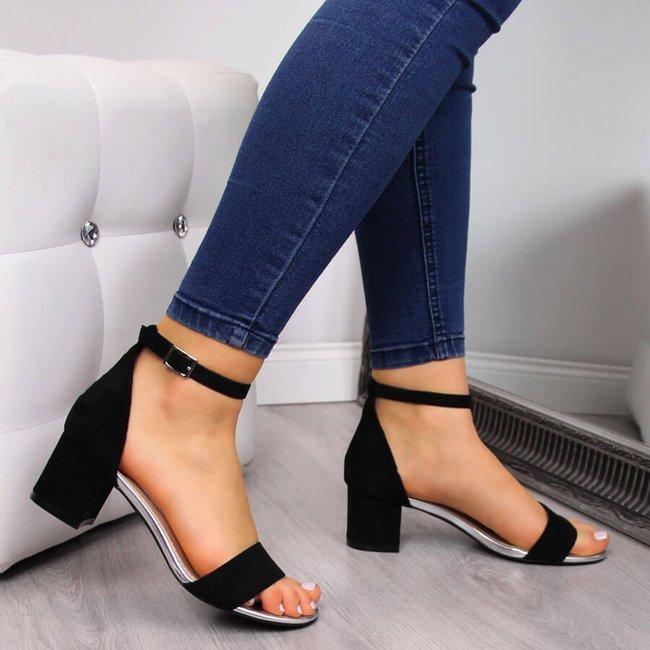 Sandały damskie na klocku czarne Sergio Leone