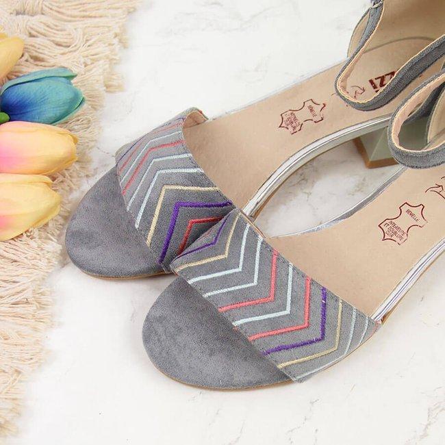 Sandały damskie na klocku szare Jezzi