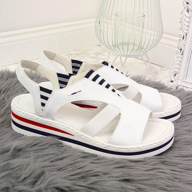Sandały damskie na koturnie białe Rieker V02Y5