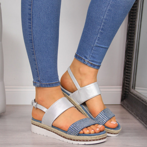 Sandały damskie na koturnie niebieskie srebrne Xti