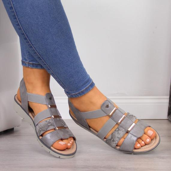 Sandały damskie na koturnie szare Aloeloe