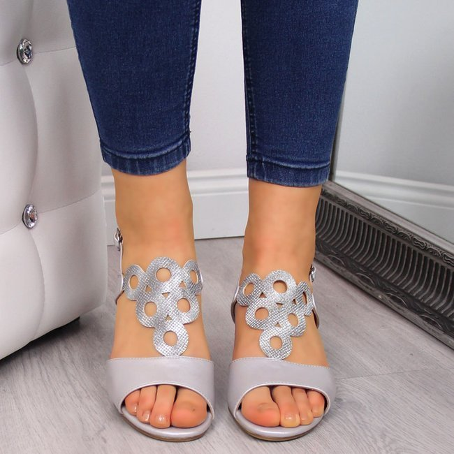 Sandały damskie na ozdobnym klocku srebrne Sergio Leone