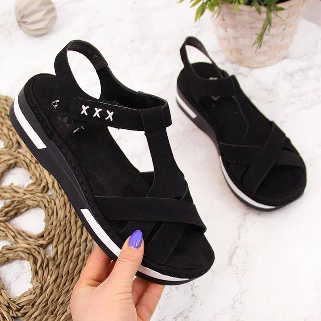 Sandały damskie na rzep platforma czarne Rieker V5919