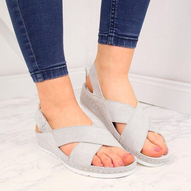Sandały damskie na rzep srebrne Vinceza