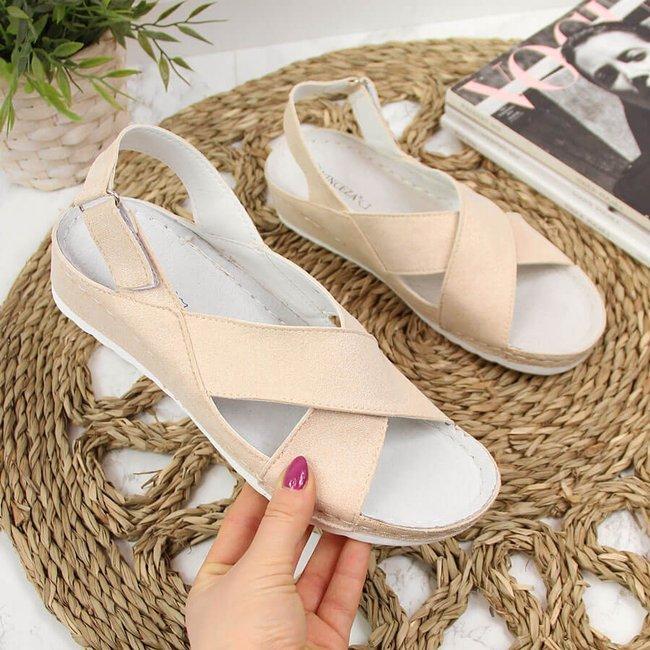 Sandały damskie na rzep złote Vinceza