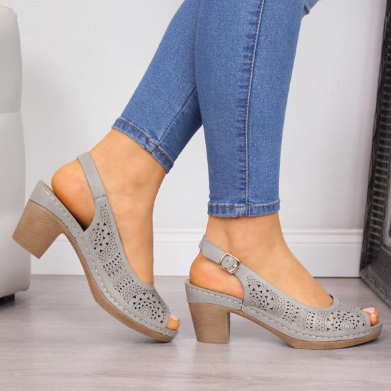 Sandały damskie na słupku ażurowe szare eVento