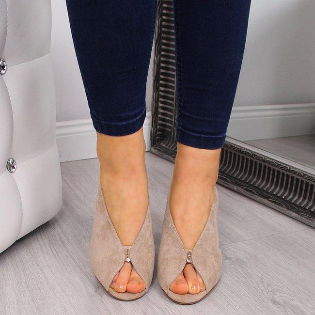 Sandały damskie na słupku beżowe Vinceza