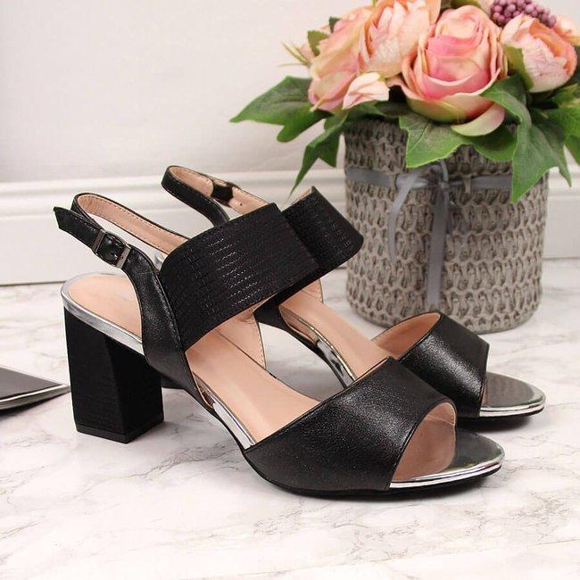 Sandały damskie na słupku czarne Vinceza