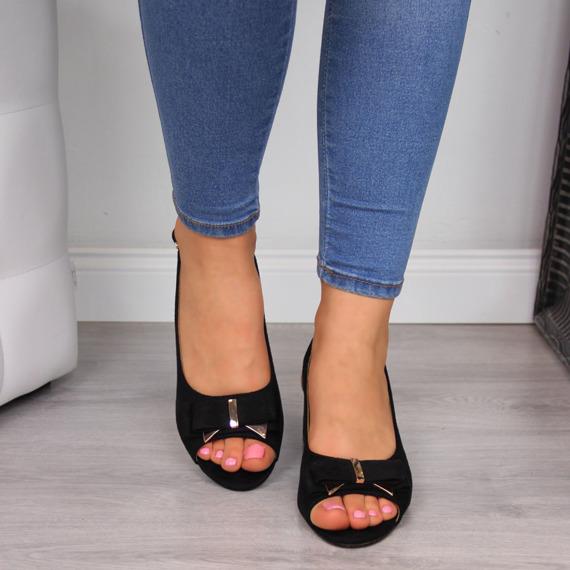 Sandały damskie na słupku czarne eVento