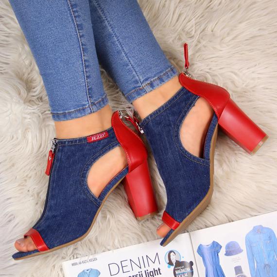 Sandały damskie na słupku jeansowe Jezzi