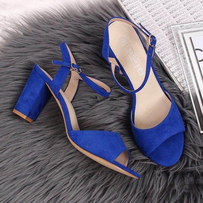 Sandały damskie na słupku niebieskie Filippo