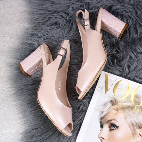 Sandały damskie na słupku różowe perłowe Sergio Leone