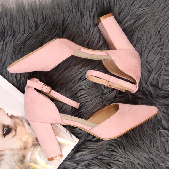 Sandały damskie na słupku szpic różowe Sabatina