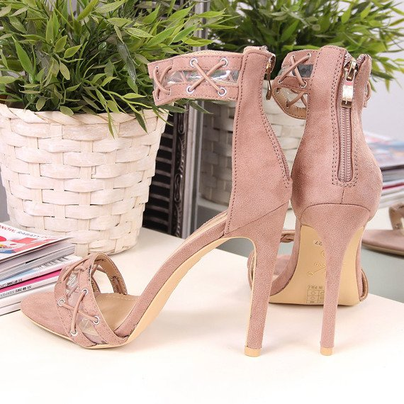 Sandały damskie na szpilce pudrowy róż Sergio Todzi