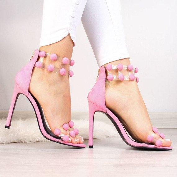 Sandały damskie na szpilce różowe Sergio Todzi