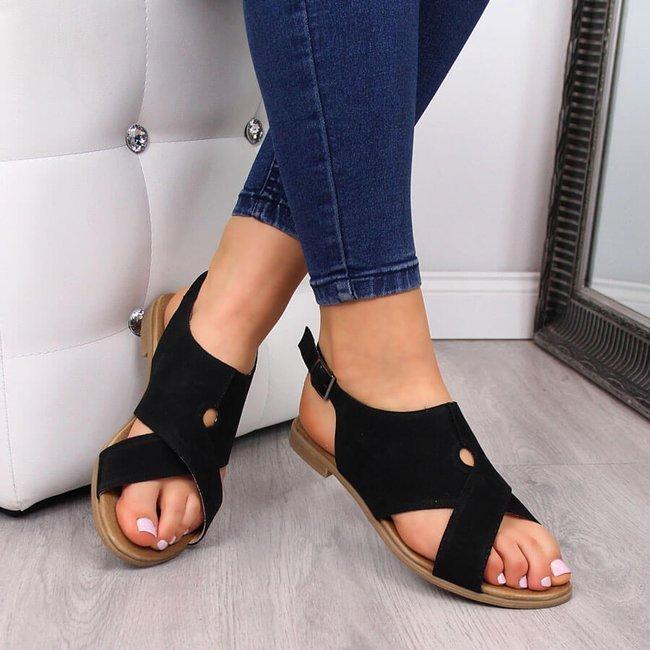 Sandały damskie skórzane czarne Juma 2650