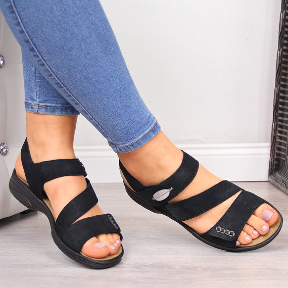 Sandały damskie skórzane czarne Rieker 64573-00