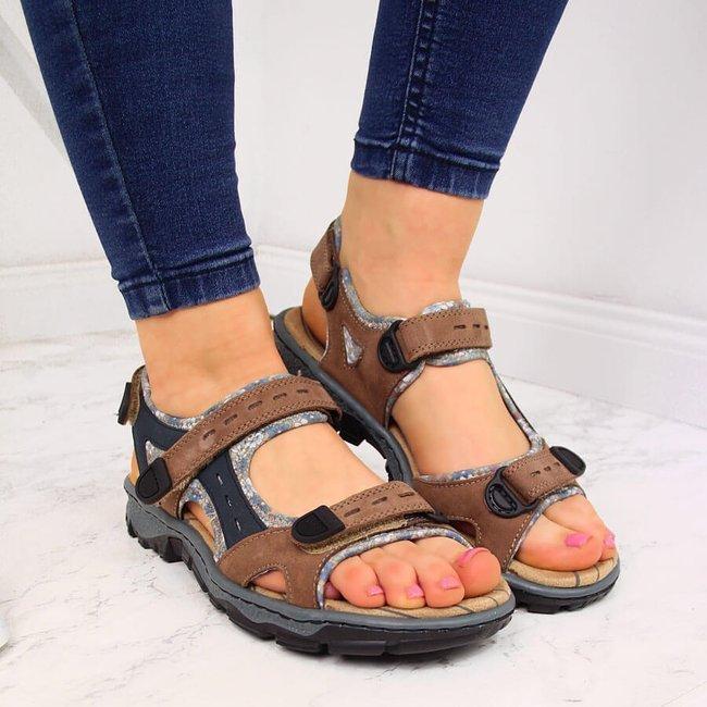 Sandały damskie skórzane komfortowe Rieker 68872-25
