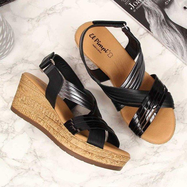 Sandały damskie skórzane na koturnie czarne El Pimpi