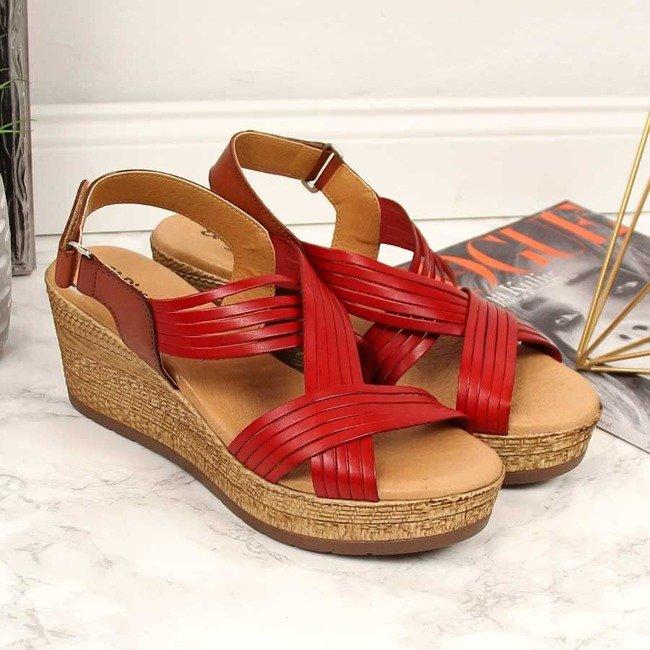 Sandały damskie skórzane na koturnie czerwone El Pimpi