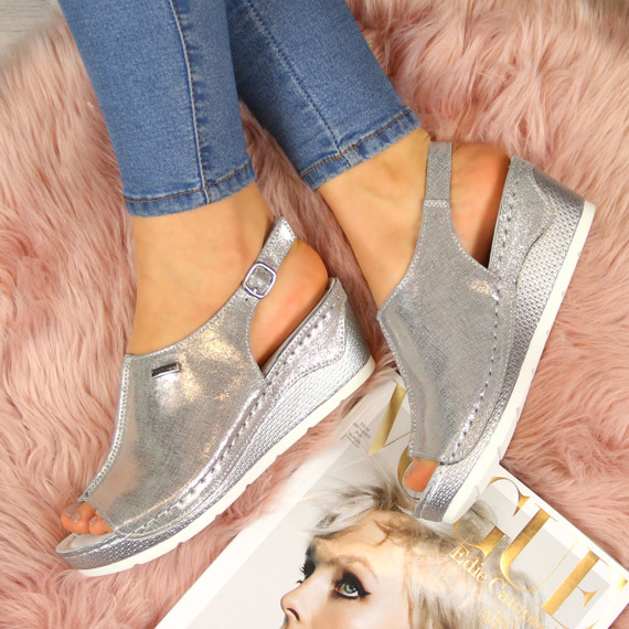 Sandały damskie skórzane na koturnie srebrne Filippo