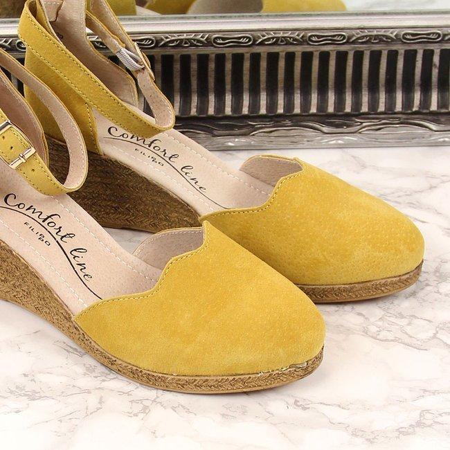 Sandały damskie skórzane na koturnie żółte Filippo