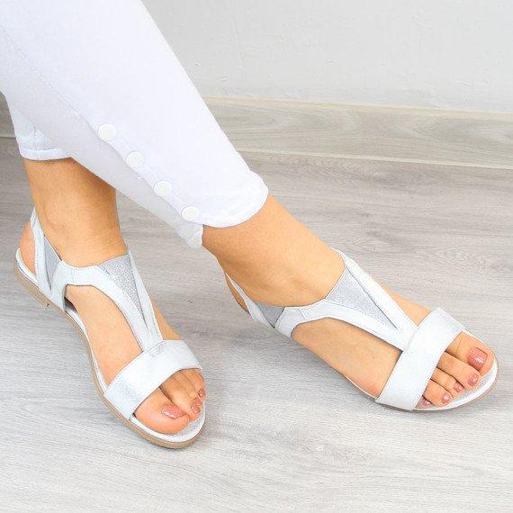 Sandały damskie skórzane srebrne Juma