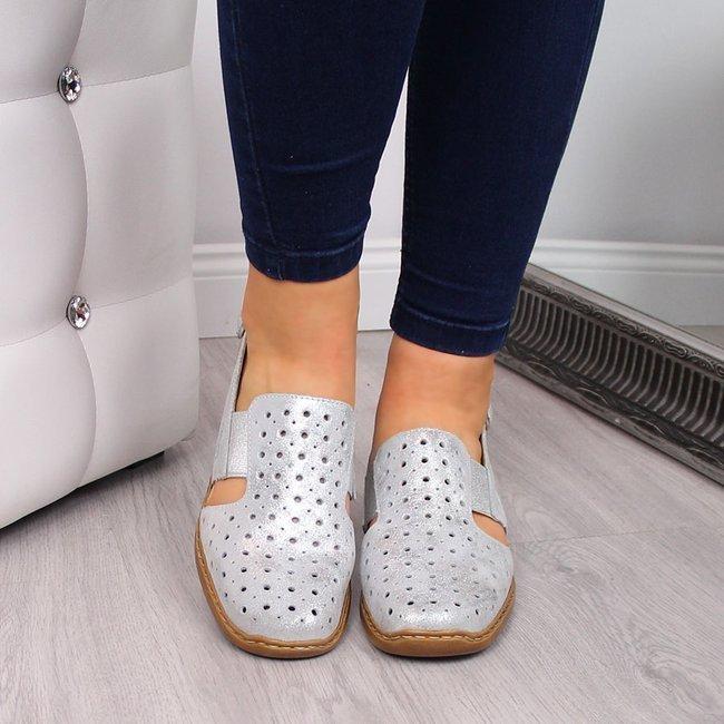 Sandały damskie skórzane zabudowane srebrne Rieker 41392