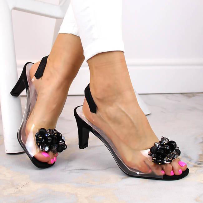 Sandały damskie transparentne z kamieniami czarne Sabatina