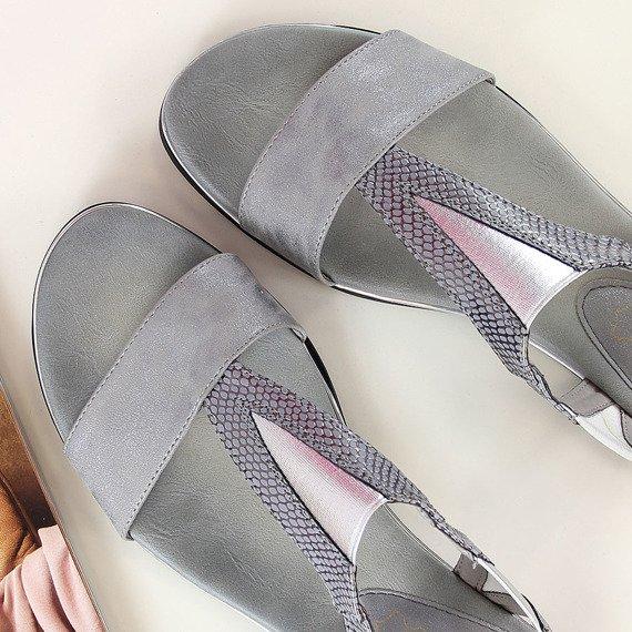 Sandały damskie wsuwane szare Jezzi