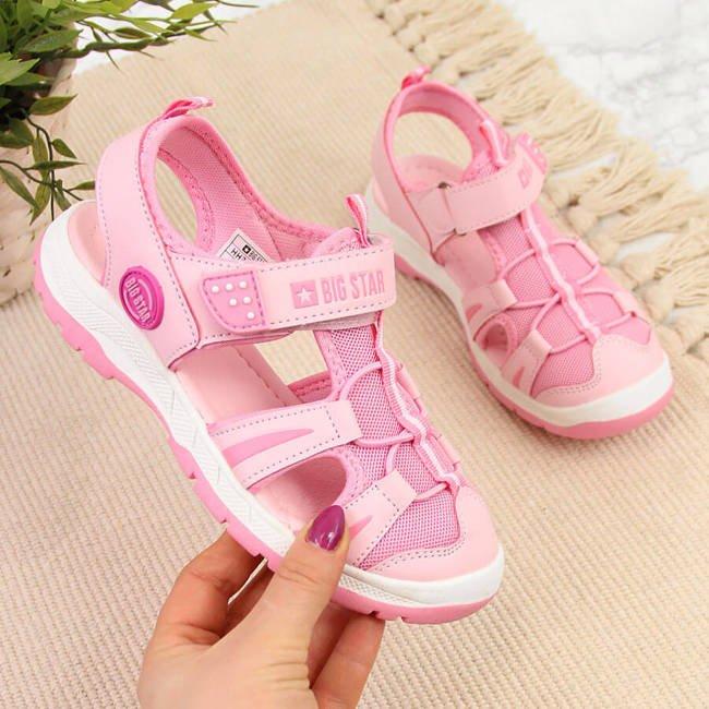Sandały dziewczęce na rzep sportowe różowe Big Star HH374260