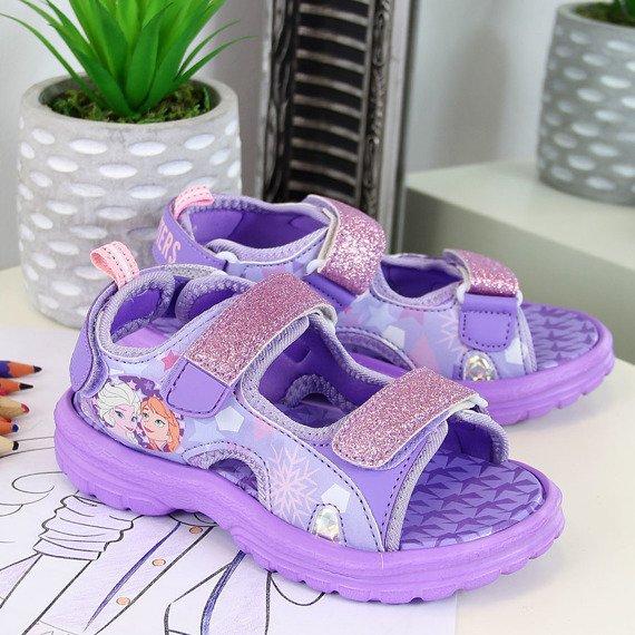 Sandały dziewczęce na rzepy fioletowe Kraina Lodu