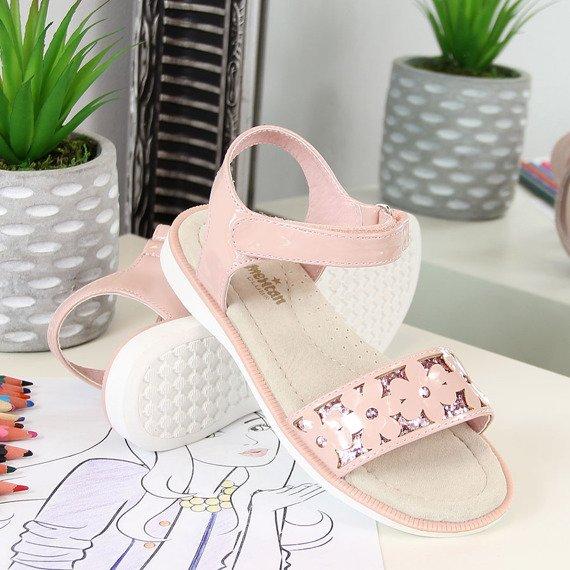 Sandały dziewczęce lakierowane różowe American Club