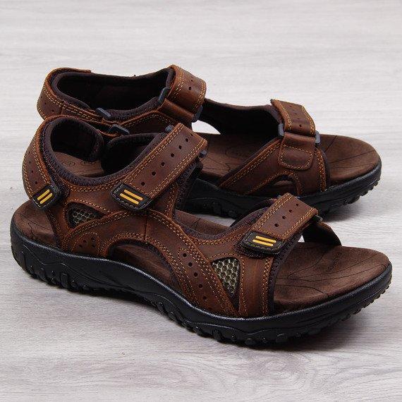Sandały męskie skórzane brązowe McKeylor