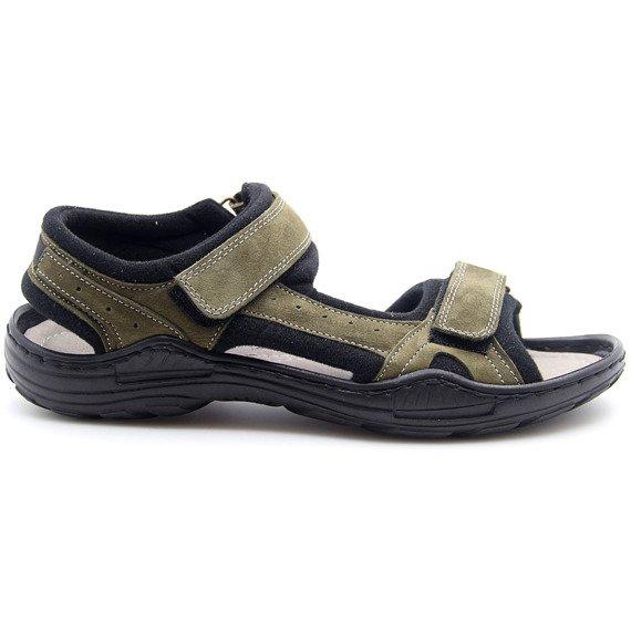 Sandały męskie skórzane khaki Koher
