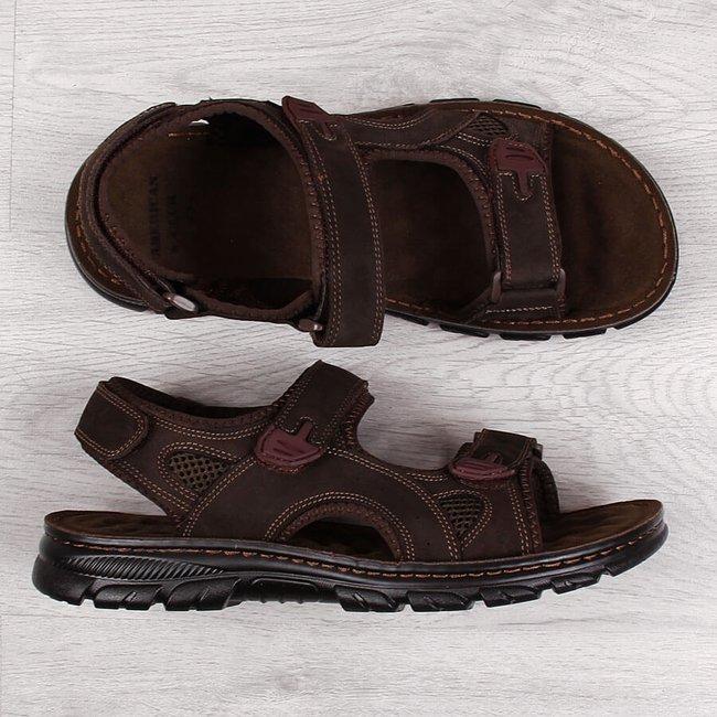 Sandały męskie skórzane na rzepy brązowe American Club