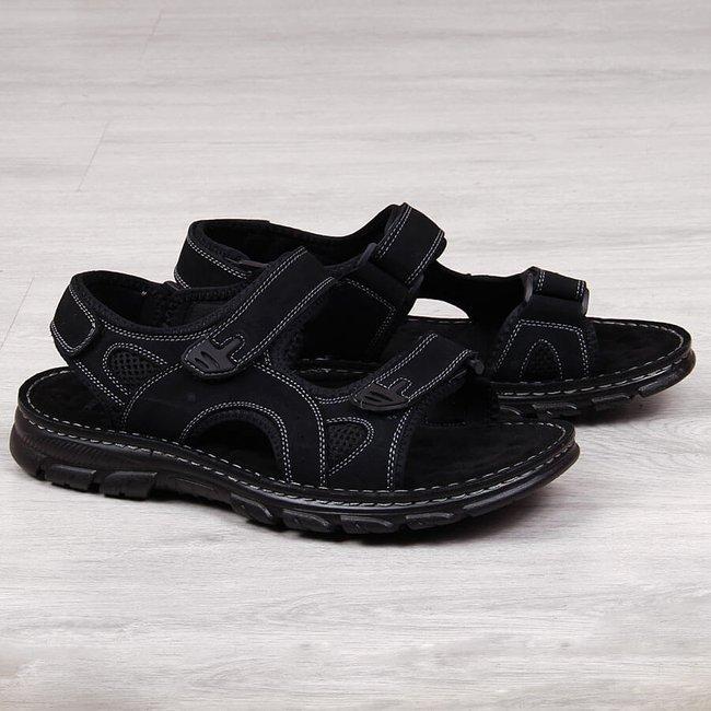 Sandały męskie skórzane na rzepy czarne American Club